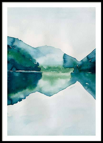 Watercolor Mountain Reflection Plakat / Kunstplakater hos Desenio AB (10123)