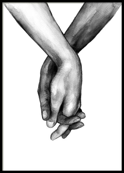 Watercolor Hands No1 Plakat i gruppen Plakater / Sort-hvid hos Desenio AB (10201)