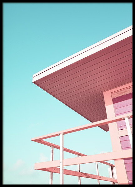 Pink Beach Tower Plakat i gruppen Studio / Coast to coast / Studio Miami hos Desenio AB (10759)