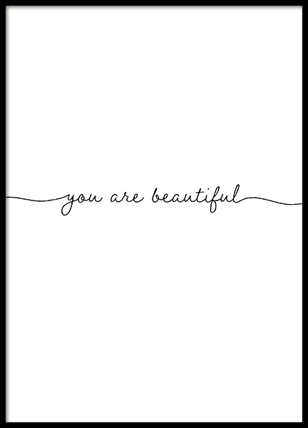You Are Beautiful Plakat i gruppen Plakater / Plakater med tekst hos Desenio AB (13177)