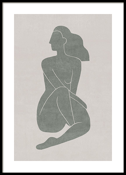 Seated Pose Green No1 Plakat i gruppen Plakater / Illustrationer hos Desenio AB (13799)