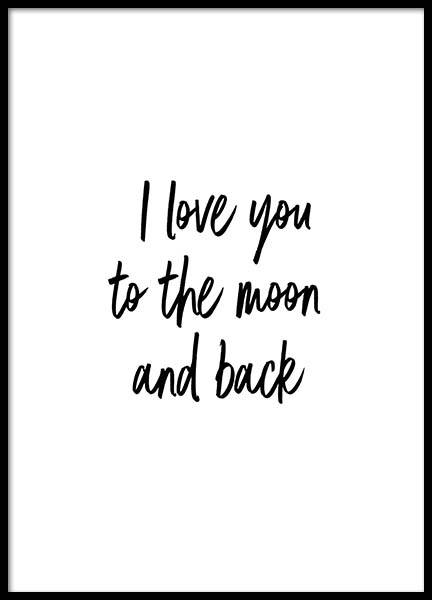 To The Moon And Back Plakat i gruppen Plakater / Plakater med tekst hos Desenio AB (2604)