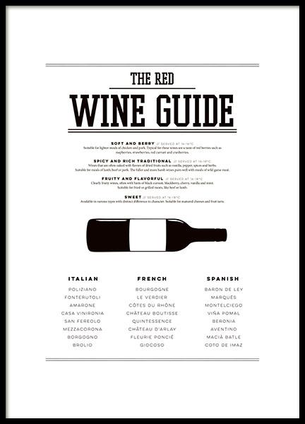 Plakat Red Wine Guide Vinplakat Til K Kkenet Posters Og Plakater Til K Kkenet