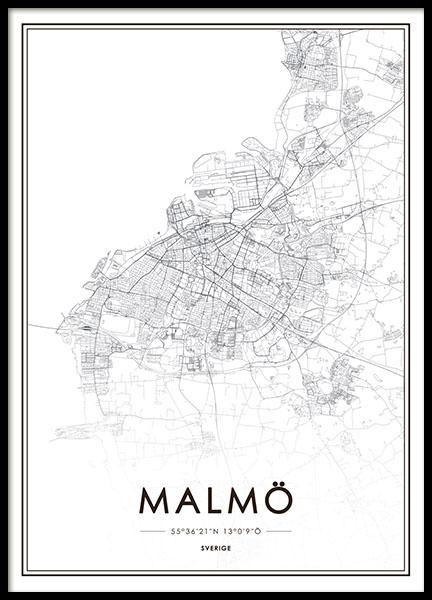 Plakat Med Malmo Kort Posters Online Plakater Med Byer