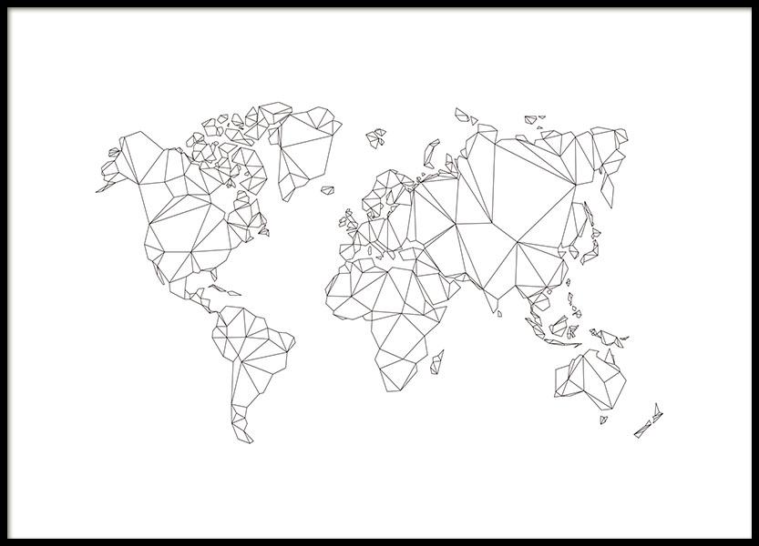 polygon world map plakat. Black Bedroom Furniture Sets. Home Design Ideas