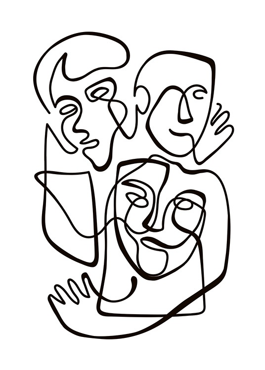 Abstract Line People No1 Plakat / Sort-hvid hos Desenio AB (10840)