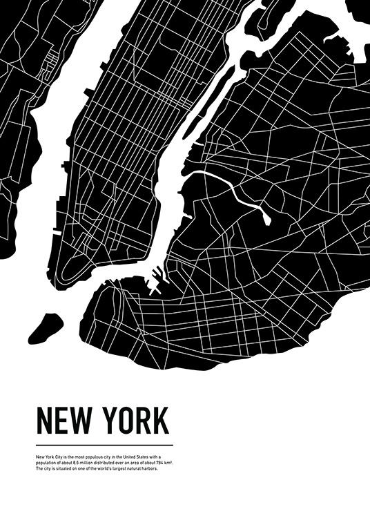 Graphic City Map New York Plakat