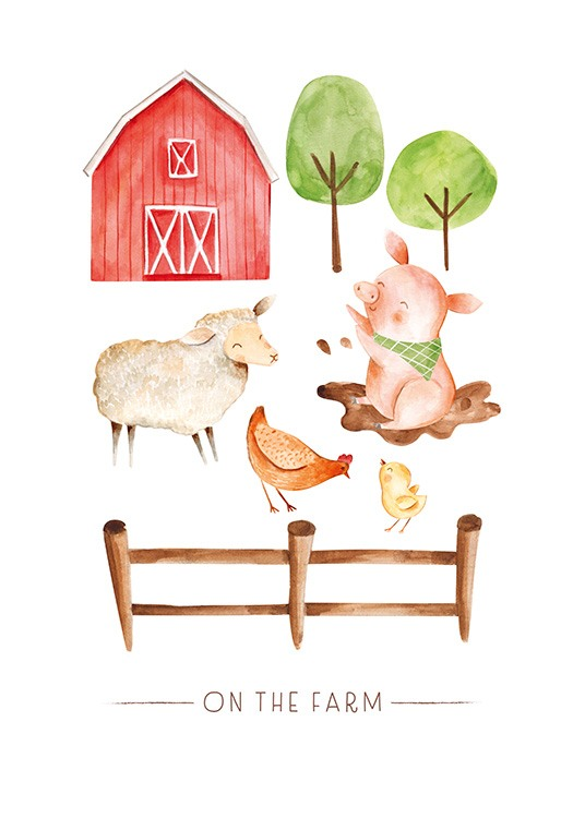 On the Farm No2 Plakat / Dyretegninger hos Desenio AB (13720)