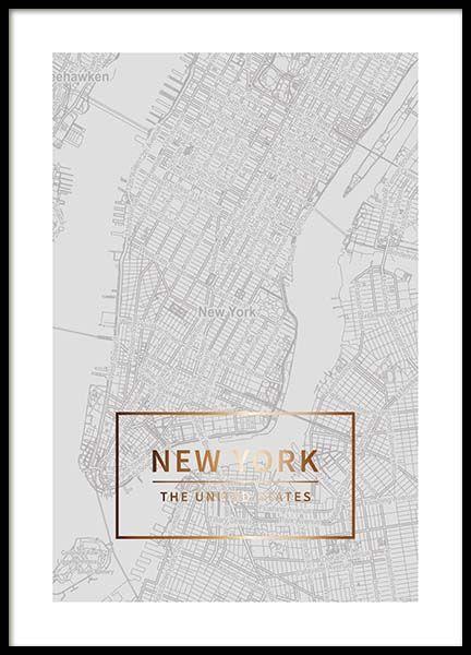 New York Gold Plakat