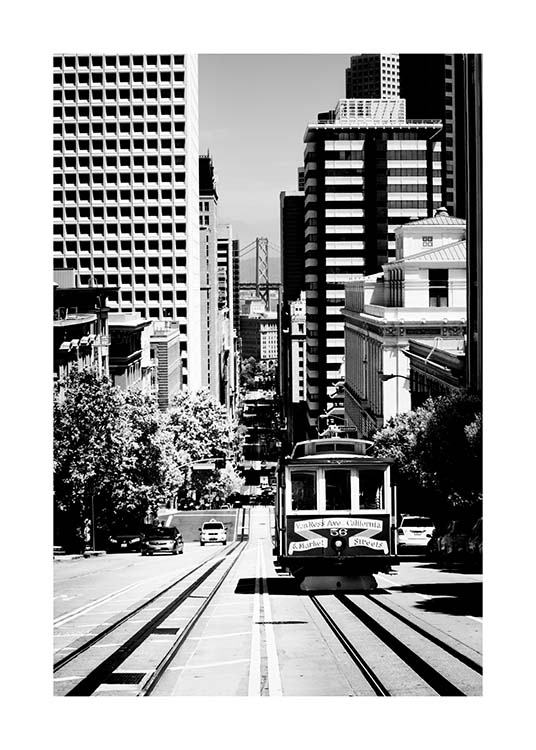 Steep Street San Francisco Plakat / Sort-hvid hos Desenio AB (3363)