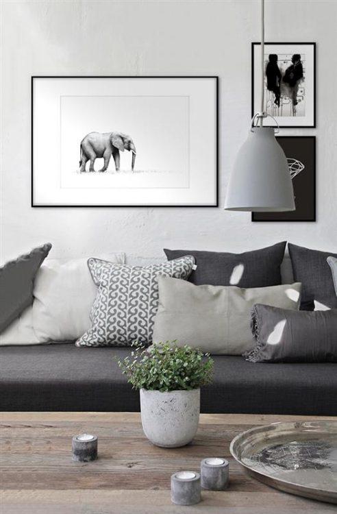 Plakat med sort hvid kunst i vandfarve