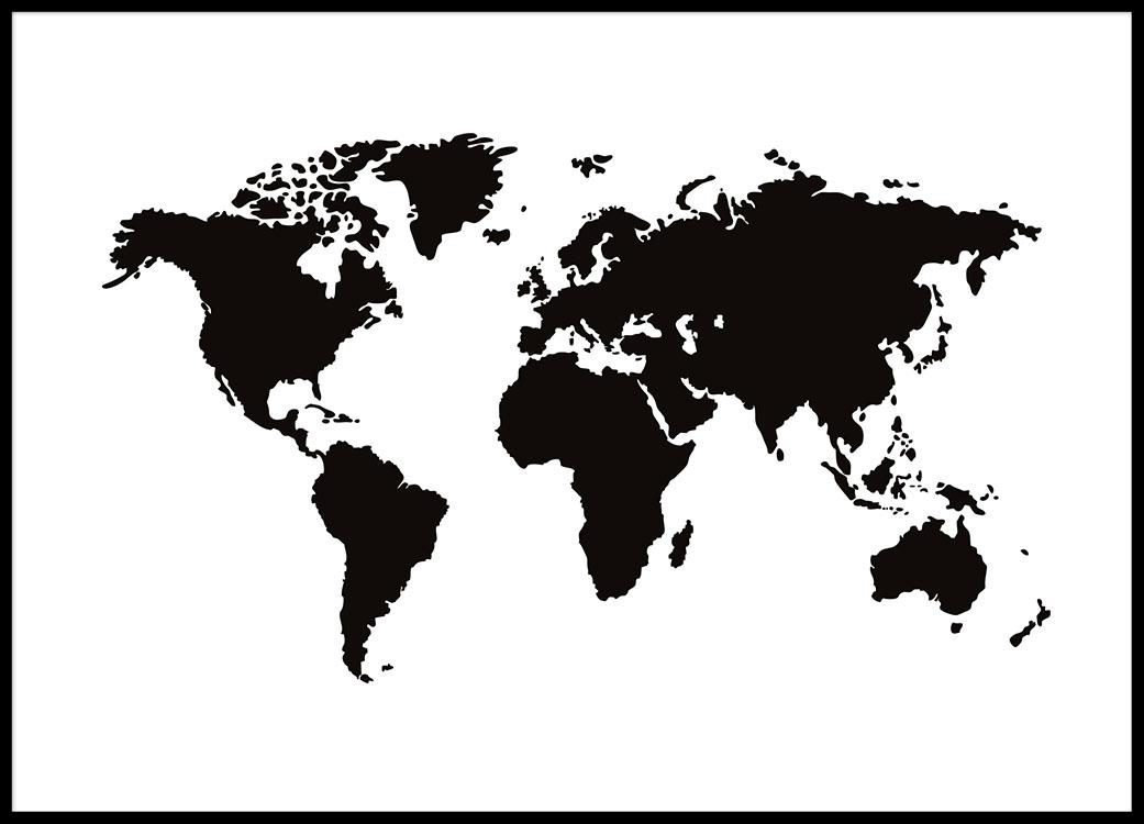 Sort Hvid Plakat Med Verdenskort Plakater Med Kort 30x40 50x70