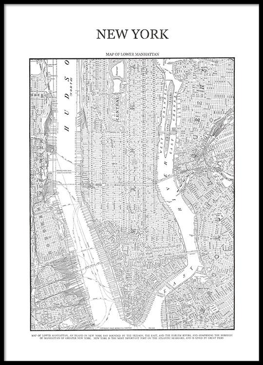 New York Kart Plakat Plakater Med Kort Over Manhattan Desenio Dk