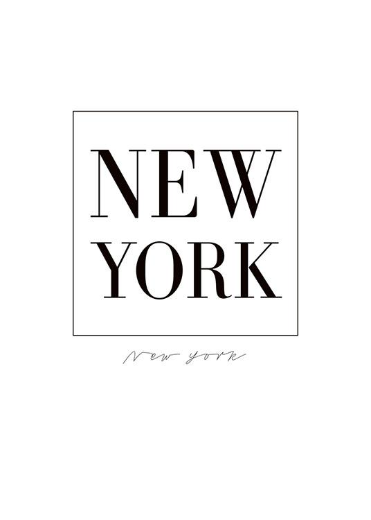 sort hvid new york plakat med tekst. Black Bedroom Furniture Sets. Home Design Ideas