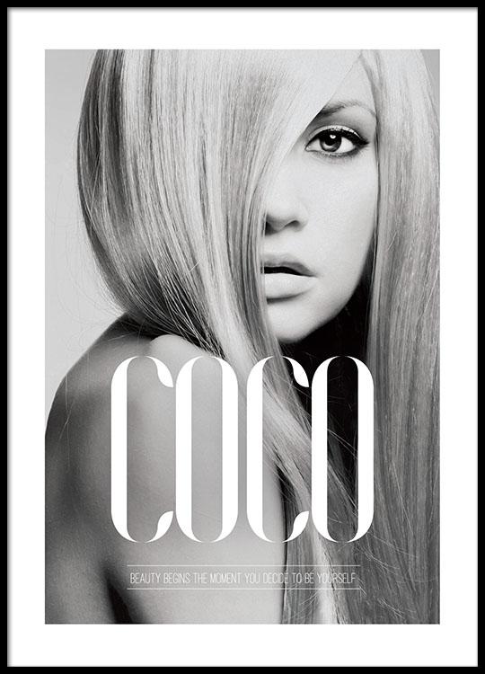 coco beauty begins plakat med sort hvid fotokunst. Black Bedroom Furniture Sets. Home Design Ideas