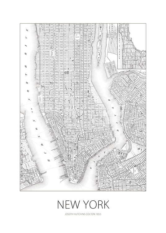 New York Map, Plakat / Kort & byer hos Desenio AB (7753)