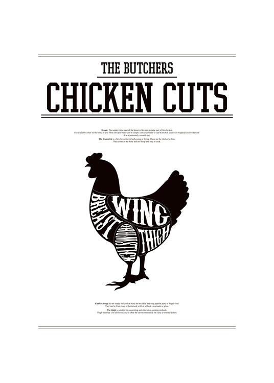 Plakat til køkkenet med udskæringsskema over kylling, Chicken cuts ...