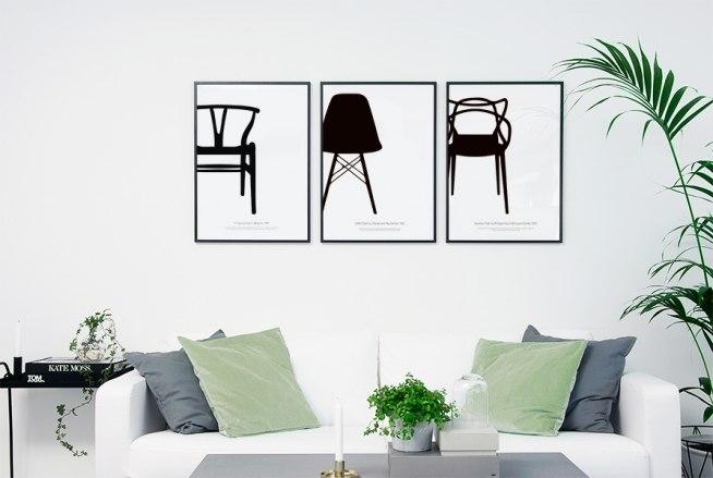 sort hvid plakat eames eiffel stolen grafisk plakat. Black Bedroom Furniture Sets. Home Design Ideas