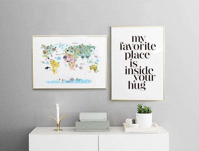 Plakat med teksten Hugs, plakater til rammer