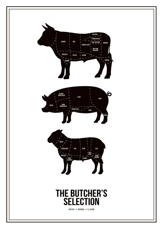 Butchers Selection, Plakat / Sort-hvid hos Desenio AB (7974)