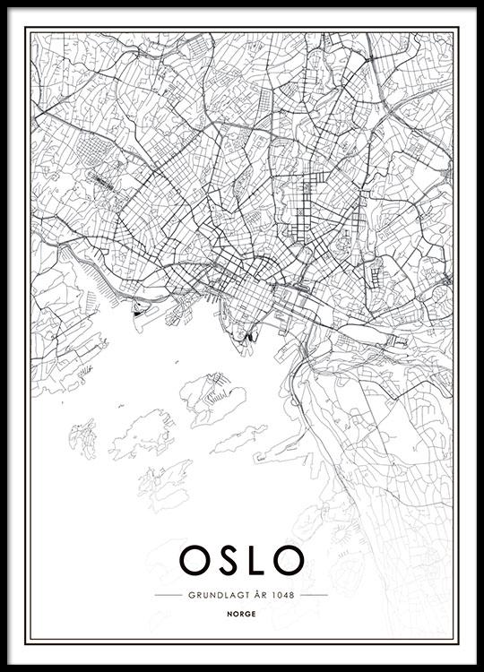 Oslo Plakat Med Kort Sort Hvid Plakat Med Oslo Kort Desenio Dk