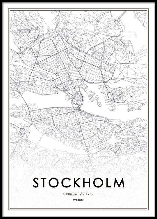 Stockholm Kort Sort Hvid Poster Med Stockholm Kort Desenio Dk