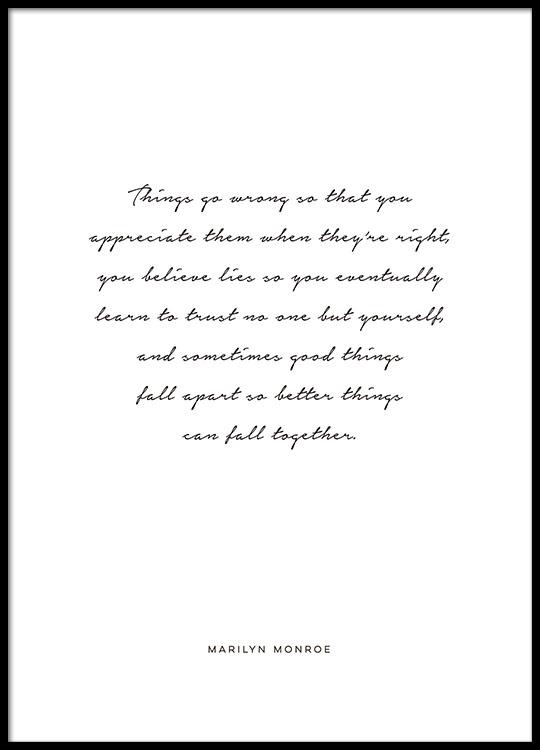monroe citater Plakat med Marilyn Monroe citat | Posters med citater og tekst monroe citater