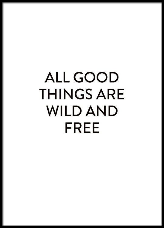 faa17607 Plakat med tekst i en træramme til grå indretning, plakater med tekst online
