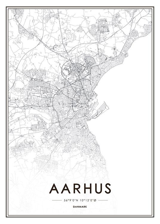 Poster Med Arhus Kort Plakater Med Byer Og Kort Desenio Dk