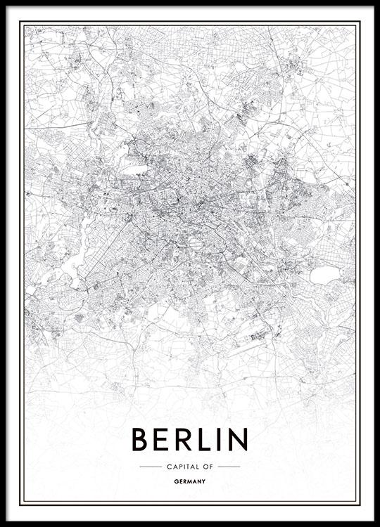 Sort Hvid Plakat Med Kort Over Berlin Posters Med Kort Og Byer