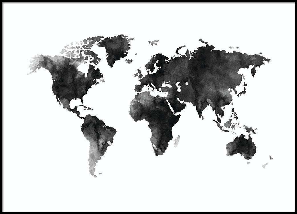 Sort Hvid Plakat Med Et Akvarel Verdenskort Fra Desenio Dk