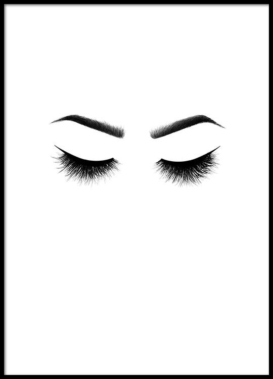 Lashes Poster on closed lip face cartoon