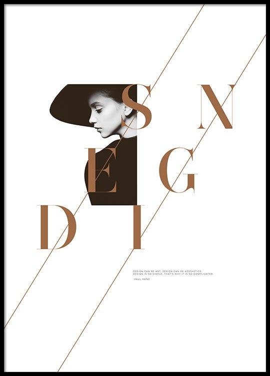 design plakater Trendy modeplakat med ordet Design, fra Desenio.dk design plakater