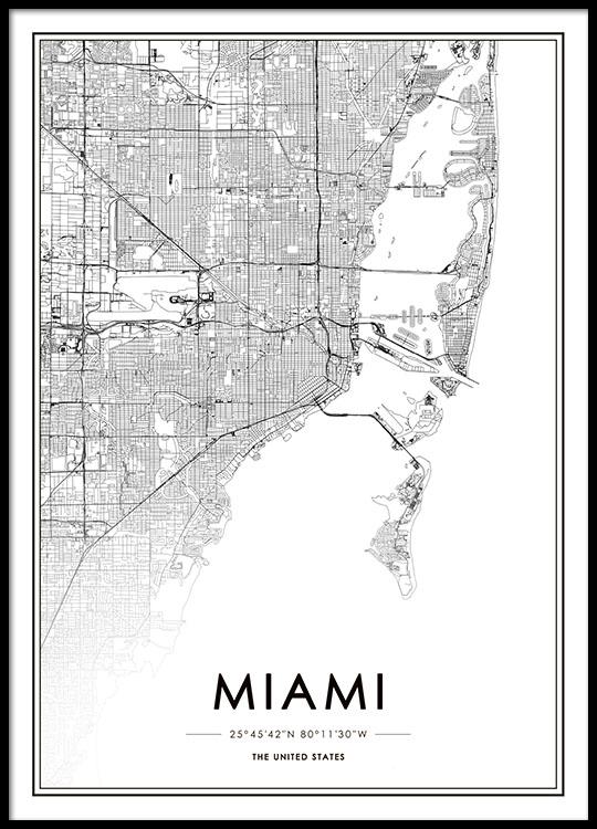 Miami Map Plakat