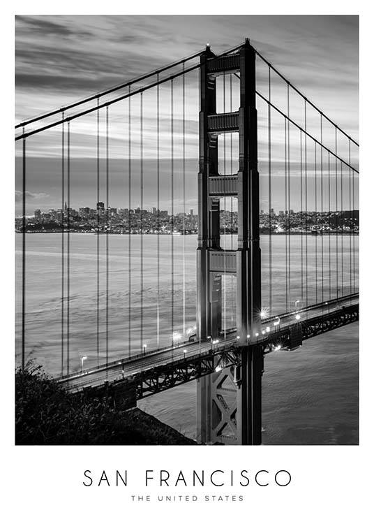 Golden Gate Bridge Plakat / Sort-hvid hos Desenio AB (8920)