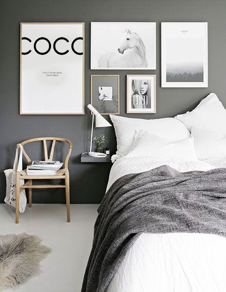 Billedvæg i soveværelse. indretning og plakater til soveværelset